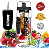 Bison Wild Crafted Fruit Infuser Water Bottle 1 Litre - Rapid Weight Loss & Detox Infused Water Recipes EBook - BPA Free Tritan Infuser - Includes Anti-Sweat Thermos Sleeve, Protein Shaker Ball