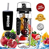 #8: Bison Wild Crafted Fruit Infuser Water Bottle 1 Litre - Rapid Weight Loss & Detox Infused Water Recipes eBook - BPA Free Tritan Infuser - Includes Anti-Sweat Thermos Sleeve, Protein Shaker Ball