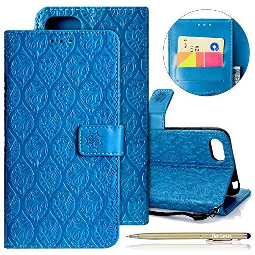 Kompatibel mit Handytasche Huawei Y5 2018 Handyhülle Prägung Blumen Muster Luxus Klapphülle Bookstyle Flip Cover Tasche Wallet Case Ledertasche Leder Hülle Handy Schutzhülle,Blau