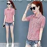 DYY4554556 Camisa de manga corta cuadrada ajustada Vestido de verano Camisa de abajo de mujer Camisa de blusa de media manga,Rosado,M