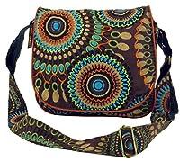 Guru-Shop Bolso de Hombro, Bolso Hippie, Goa Bolsa - Marrón, Unisex - Adultos, Algodón, Tamaño:One Size, 22x23x5 cm, Bolsas de Hombro