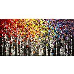 Pintado a mano paisaje abstracto paleta arco iris abedul Vista de Árbol de pintura al óleo Lienzo familia pared salón arte, lona, 24x48inch(60x120cm)