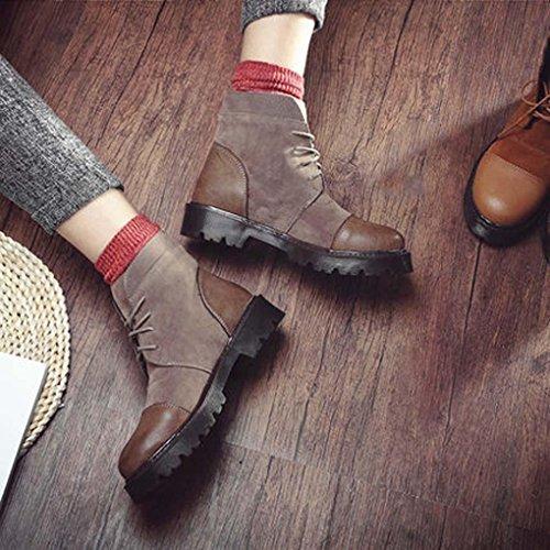 Heart&M MS autunno/inverno nuovo stile alto-cravatta cuciture in pelle scamosciata scarpe piatte casual stivaletti c