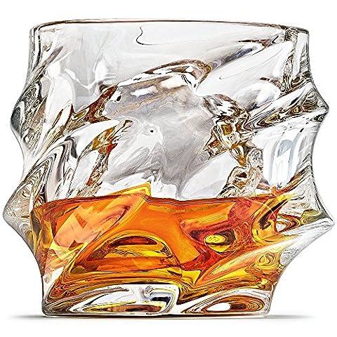 Everest Verres à Whisky, Scotch par Ashcroft-Lot de 2verres. Unique, élégant, verre, passe au lave-vaisselle, liqueur ou Bourbon gobelets. Ultra-clarity Verrerie.