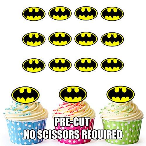 Vorgeschnittener Batman Superheld - Essbare Cupcake Topper / Kuchendekorationen (12 Stück) (Topper Batman Kuchen)