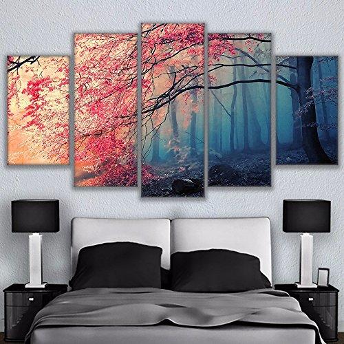 BAIYANGYANG Moderne Wand Kunst Leinwand Poster HD Abzüge für Wohnzimmer 5 Stück Cherry Blossoms Bilder Dekor Rot Bäume Wald Malerei, 40 x 60 40 x 80 40 x 100 cm, - Artwork-wand-dekor-rot