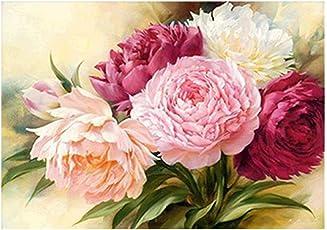 Rrimin 5D Full Diamond Peony Flower Painting Embroidery DIY Cross Stitch Decor