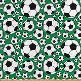 ABAKUHAUS Fußball Satin Stoff als Meterware, Sportmotiv,