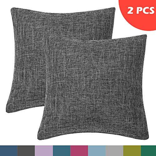 LATTCURE Kissenbezug aus Leinen und Baumwolle Kissenhülle mit Reißverschluss 2er Pack 45x45 cm (Dunkelgrau) -