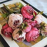 SHINE-CO Artificial Flores Peonía de Seda 1 Ramo Gloriosa Decoración para Boda Fiesta Navidad del Hogar o Exterior (Rosa Oscuro)