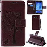 Ooboom® Samsung Galaxy J5(2015 Version) Case Cat Tree Pattern PU Leather Flip Cover Wallet Stand with Card/Cash Slots Packet Wrist Strap Magnetic Clasp for Samsung Galaxy J5(2015 Version) - Brown