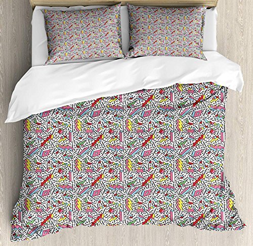 Funky 3-teiliges Bettwäscheset Bettbezugset, Memphis-Muster mit Mosaik-3D-Formen im Stil der 80er und 90er Jahre, buntes Design, 3-tlg. Tröster- / Qulitbezugset mit 2 Kissenbezügen, mehrfarbig (Memphis Tröster Set)