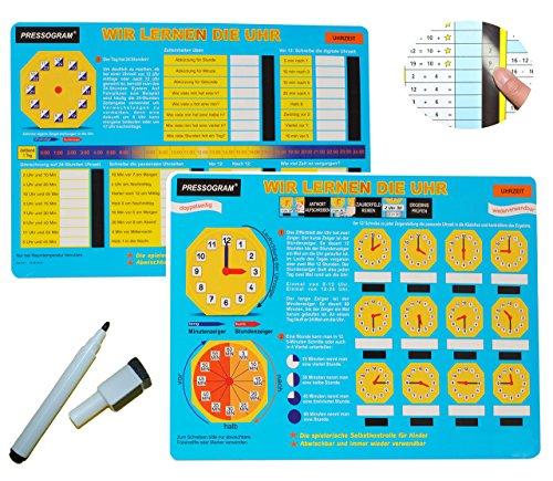 Unbekannt Stift + Pressogramm: schreib und wisch Weg - mit Selbstkontrolle ! - Uhr und Uhrzeit Lernen - Lernuhr - lesen Lernen - Schule Kindegarten Vorschule üben Spiel.. - Abc Reiben