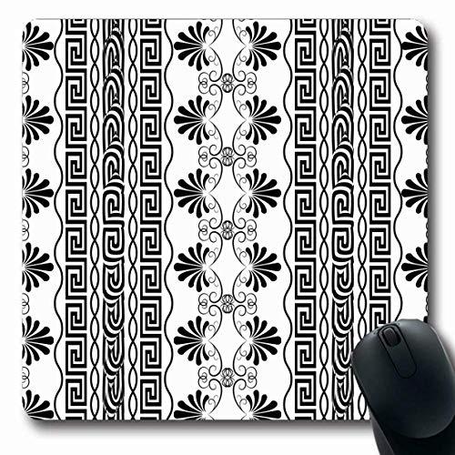 Luancrop Mousepad für Computer Notebook Flower griechischen gestreiften Blumen Grenze Muster Vintage Mäander abstrakt antiken schwarzen Damast gezeichneten Design rutschfeste Gaming-Mauspad Griechischen Grenze