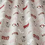 iLiv Baa PEONY rot NEUHEIT bedruckt Schaf Stoff,100% Baumwolle für Vorhänge,faltgardinen,Kissen,Polster,bastelarbeiten. ideal für ein Jungen oder Mädchen Schlafzimmer,Kinderzimmer Land inspiriert