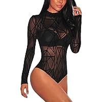 SEBOWEL Damen Body Sexy Sheer Mesh Langarm/Kurzarm Bodysuit Bluse Tops