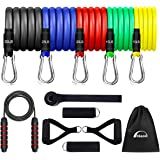 hksod 12pcs Resistance Bands Set Men and Women, Skipping Rope for Fitness, Exercise Bands with Handles, Door Anchor & Ankle S