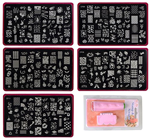 Lifestyle-You™ Jumbo Nail Stamping Image Plates Kit(5 pcs) + Double Sided Stamper + Metal Scraper. Nail Art & Decoration (Combo Offer). Nice gift for girls and women.