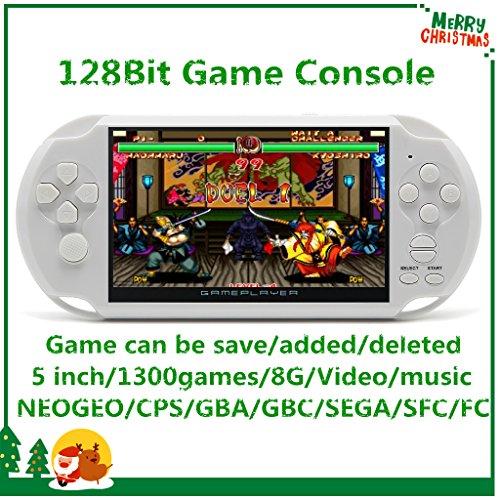 CZT Pantalla de 5 Pulgadas 8GB Videoconsola Retro de 128 bits Consola integrada 1300 Juegos para Arcade NEOGEO/CPS/FC/NES/SFC/SNES/GB/GBC/GBA/SMC/SMD/Sega Consola Portátil de Juegos MP3/4 (White)