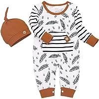 Nouveau-né Enfant en Bas âge bébé garçons Filles Tenues rayé Plume imprimé Barboteuse Pantalon Chapeau vêtements 3…