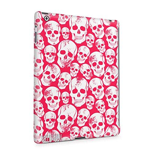 Red Skulls Snap (Grunge Red Gothic Skeleton Punk Rock Mini Skulls Pattern Dünne Rückschale aus Hartplastik für iPad 2 & iPad 3 & iPad 4 Tablet Hülle Schutzhülle Slim Fit Case cover)