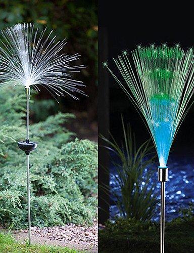 Cambio de color Juego de 2 Solar Fiber Optic Light Fountain Estaca Jardín