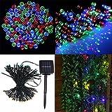 Solar LED Lichterkette,SOLMORE Außenlichterkette LED String Licht 17M 100 LED Solarlichterkette mit 8 Farben für Hochzeit Garten Party Außen Dekoration bunt