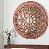Homesake Round Floral Carved Wooden Wall Mirror, Royal Antique Vintage Mirror, Classic Copper