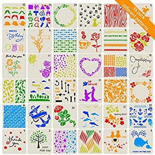 ANPHSIN 36 Pcs Various Bullet Journal Stencils- Lovely Square Planner Stencils for Scheduling Journaling and Crafting