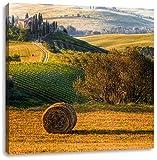 Italienische Toskana Landschaft, Format: 40x40 auf Leinwand, XXL riesige Bilder fertig gerahmt mit Keilrahmen, Kunstdruck auf Wandbild mit Rahmen, günstiger als Gemälde oder Ölbild, kein Poster oder Plakat