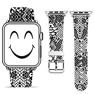 Apple Watch Band 42mm W Metal Clasp,Genuine Leather Strap Wrist Band Replacement Metal Clasp for iWatch - The Pattern Like The Snake Skin Print