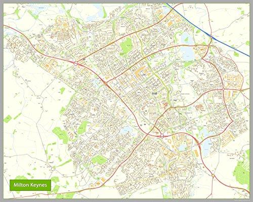 Milton Keynes Street Map-Papier-Größe 200x 160cm (Moon Milton)