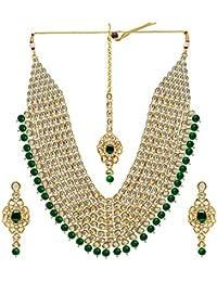 Jaipur Mart Alloy Metal Gold Plated Pearl & Kundan Jewellery Set For Women (Kn129P)