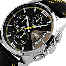 YISUYA Military Chronograph Stopwatch with Date Display, Men's Leather Band Waterproof Sports Quartz Wrist Watch Black + Yellow