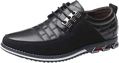 Leather Trainers Men Lace-Up Round Toe Formal Shoes Quilted Casual Smart Shoes Anti Sli Business Shoes Fashion Derbies Boat Shoes Wedding Suede Leather Shoes Men Sport Trainers