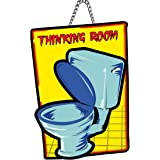 Generic PNF Thinking Room Bathroom Quote Printed Home Wall Door Sign Hanging (Wooden, 11x9 Inch,Brown)-21, Medium