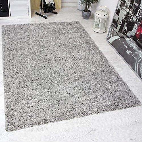 Preisvergleich Produktbild VIMODA prime1000 Shaggy Hoch-/Langflor Teppich, Modern für Wohn-/Schlafzimmer, Polypropylen, grau, 120 x 170 cm