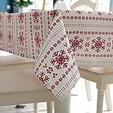 Modelli del Tessuto di Cotone del Fiocco di Neve di Copertura Tavolo da Pranzo Cucina Tovaglia per Natale, Decorazione del Partito, 140cm x 180 cm