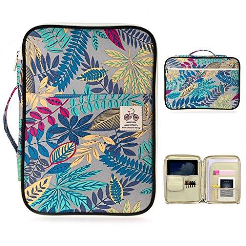 BTSKY Multifunktionale A4Dokumententasche / Reisetasche für Akten, Portfolio-Tasche, Organizer für iPads, Notebooks, Stifte, Dokumente Grey Leaf (Reise-portfolio)