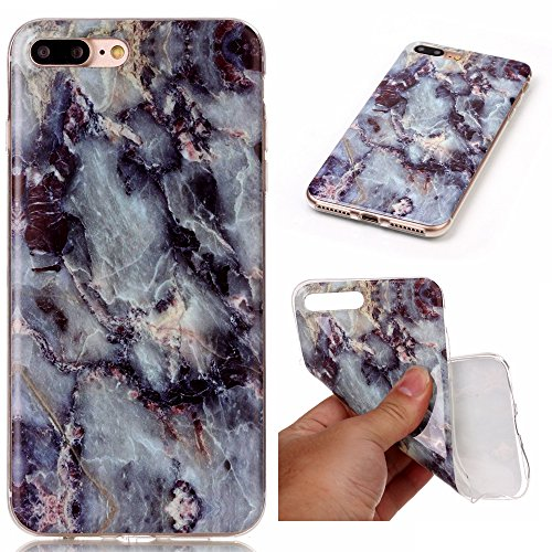 TPU für Apple iPhone 7 Plus (5.5 Zoll) mit Marmor Design - Schale Etui Protective Hartschale Backcover Case Schutzhülle Cover in Apple iPhone 7 Plus (5.5 Zoll) mit Marmor Design Skin +Staubstecker (1N 5