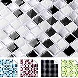4er Set 25,3 x 25,3 cm schwarz weiß silber Fliesenaufkleber Design 1 I 3D Mosaik verschiedene Farben und Größen Küche Bad Grandora W5193