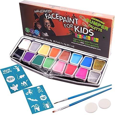 Halloween Face Paint Kit, Big Bumper 16Stück für Kinder. Face Malerei Set mit Schablonen. Professionelles Party Palette, 14Farben, 2Schwämme, 2Pinsel, Glitzer-Gel, gratis eBook Sicher und ungiftig auf Wasserbasis