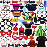 Faburo 58Pcs Photo Booth Atrezzo Favorecer Incluyendo Bigotes Gafas Pelo Sombreros labios etc para el partido, boda, cumplea?os y de la graduación