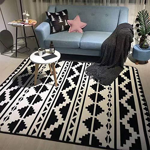 Schlafzimmer-zeitgenössische-sofa (Rutschfeste Teppiche Anti-Rutsch-Teppichbodenmatte Streifen Schwarz Weiß Geometrie Zeitgenössisch Moderne Fußmatte Sofa Schlafzimmer Wohnzimmer Nachttischdecke Rechteck für Wohnzimmer Schlafzimmer Es)