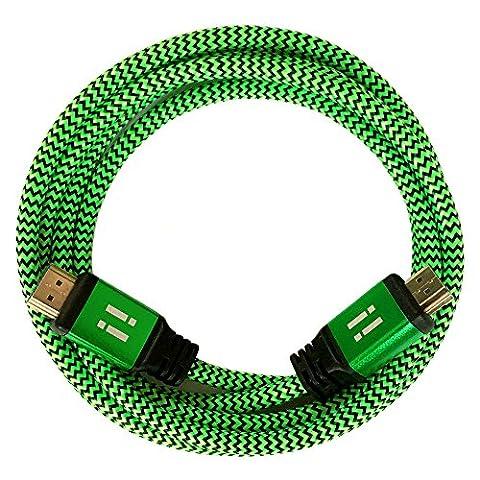 [i!®] 2m Premium Nylon High Speed HDMI Kabel [Neuste Generation] kompatibel mit HDMI 2.0 - 2.0a/b - 1.4a   3D 4K Ultra HD 2160p Full HD 1080p Highspeed Ethernet ARC HDR CEC DTS-HD   grün