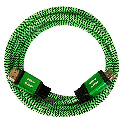 [i!] 2m Premium Nylon High Speed HDMI Kabel [Neuste Generation] kompatibel mit HDMI 2.0 - 2.0a/b - 1.4a   3D 4K Ultra HD 2160p Full HD 1080p Highspeed Ethernet ARC HDR CEC DTS-HD   grün