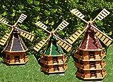 Große Windmühle, dreistöckig, WMB180ro-MS ,Windmühlen mit Licht, windmühlen garten, mit Solarbeleuchtung, MIT SOLAR, für Außen 1,80 m groß rot dunkel