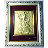 Hanumex® Lord Ganesh Golden Picture 5x7 Inch With Photo Frame For Gifting Purpose In Marriage ,Birthday Ect