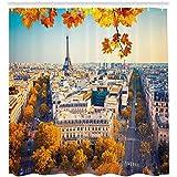 ABAKUHAUS Otoño Cortina de Baño, Vista Aérea De La Torre Eiffel, Material Resistente al