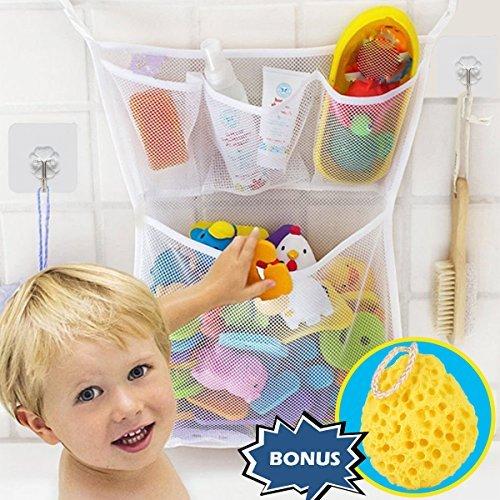 Wemk Bad Spielzeug Organizer Bad Spielzeug Netz Badespielzeug Lagerung Badewanne Spielzeugnetz mit 4 Selbstklebend Haken & Badeschwamm (Bad Spielzeug Organizer)